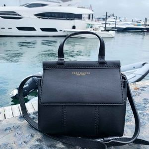Tory Burch Black Block-T Mini Satchel